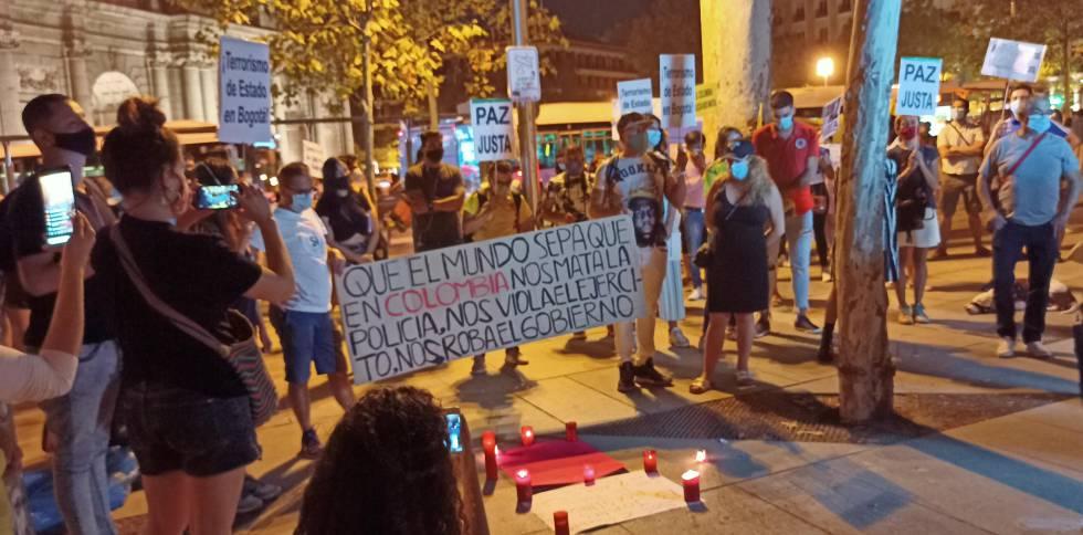 Protesta de colombianos en Madrid el pasado sábado 12 de septiembre por la violencia policial en su país de origen.