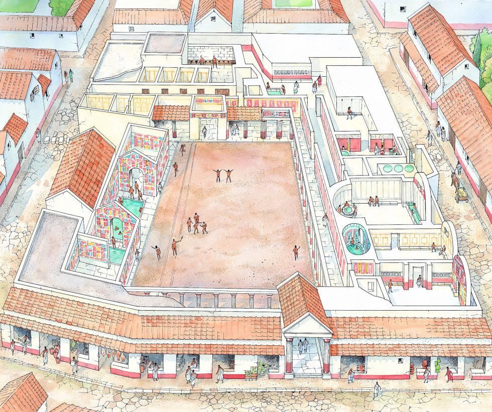 Recreación de las termas estabianas de Pompeya, lugar de recreo del siglo IV a.C. que contaba con gimnasio, una sala tibia, una piscina de agua fría, una sala caliente con bañera y fuente y una gran piscina al aire libre.