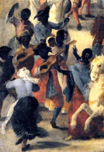 Bailes y músicos afro-hispanos en Sevilla. Detalle de 'Carro del Aire'. Máscara de la Fabrica de Tabacos con motivo de la exaltación al trono de Fernando VI. Domingo Martínez (1748-1749).
