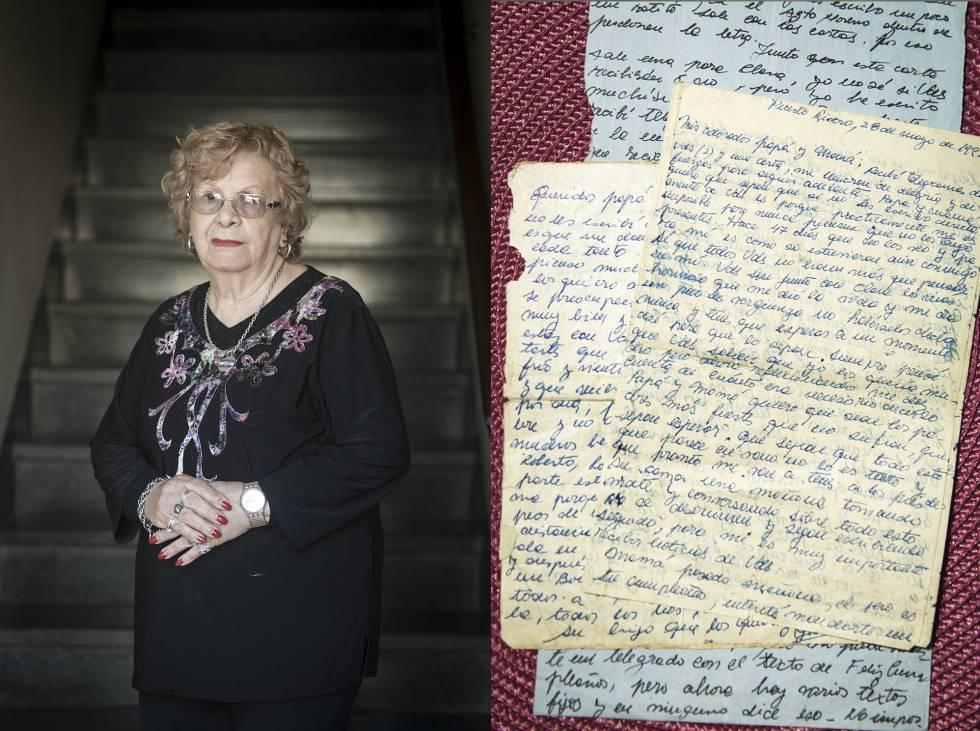 Familiares de soldados fallecidos en las Malvinas junto a cartas escritas por estos: Delmira Cao, madre de Julio Cao.