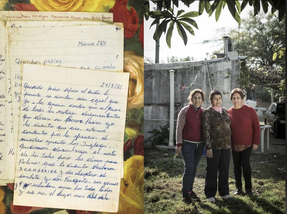 Las hermanas del soldado Andrés Aníbal Folch junto a una carta suya.