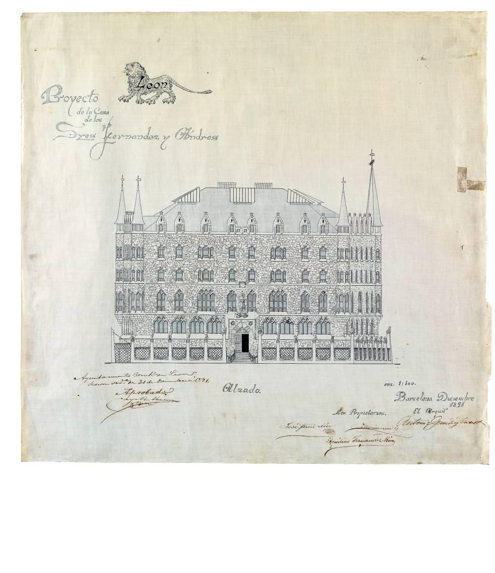 Dibujo para el proyecto del Palacio Botines de León (1890), una de las tres obras ejecutadas por Gaudí fuera de Cataluña.