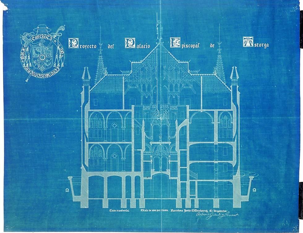 Cianotipo con el proyecto ideado por el arquitecto para el Palacio Episcopal de Astorga, en 1988.