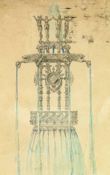 Dibujo a lápiz y acuarela para la obra de fuente monumental para la plaza de Catalunya de Barcelona, 1877.