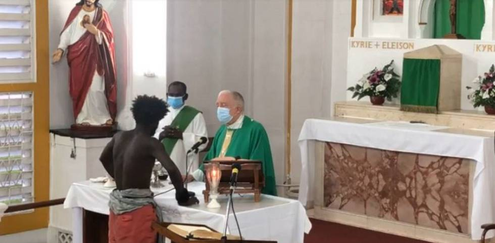 Still from the recording of the mass celebrated on November 7 in Guyana.