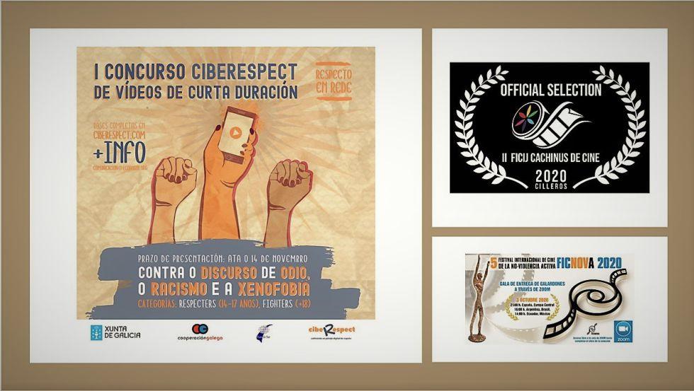 Carteles de festivales audiovisuales con compromiso social y ético en los que participó el corto de animación Intolerancia del IES María Soliño