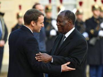 Emmanuel Macron and Alassane Ouattara.