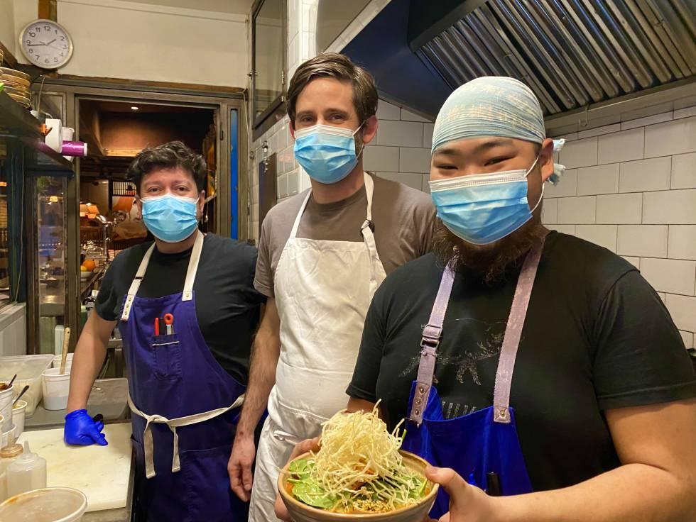 Jhon Husby, with his kitchen team at Chuka Ramen Bar. JC CAPEL