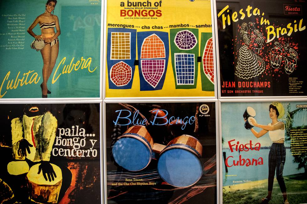 LP covers from the fifties with the bongo as a common element.