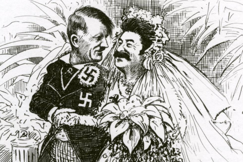 Caricatura del pacto de no agresión germano-soviético de 1939.