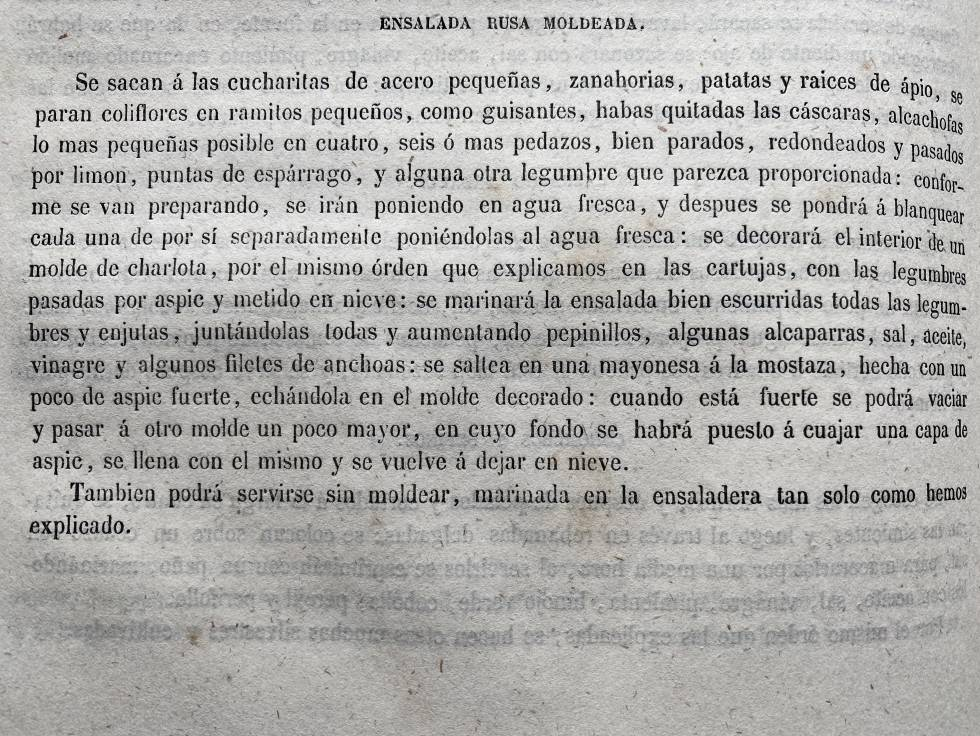 Receta de ensalada rusa del libro La Cocina Moderna (1857). J.C. CAPEL