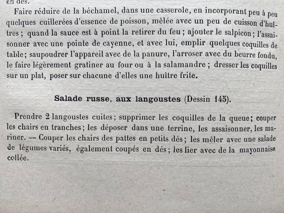 Receta de ensalada rusa del libro de Urban Dubois. J.C. CAPEL