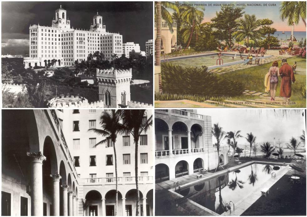 Imágenes históricas del edificio.  Arriba a la derecha, una postal promocional.