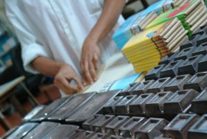 Creole chocolate packaging at Hacienda Bukare, in Venezuela.