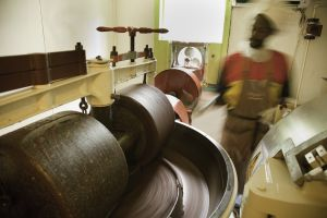 Chocolate mixing process at the Grenada Chocolate Company, on the island of Granada.