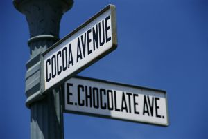 Intersection of Cacao and Chocolate Avenues in Hershey, Pennsylvania (USA).