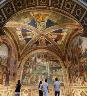 Frescos de Pinturicchio en la Cappella Baglioni, en la villa de Spello (Italia).