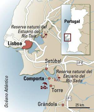 mapa de comporta y el estuario del ro sado portugal