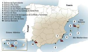 Varias salinas en España.