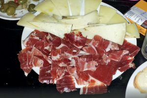 Matured cheese and Iberico ham at La Corchuela, Badajoz.