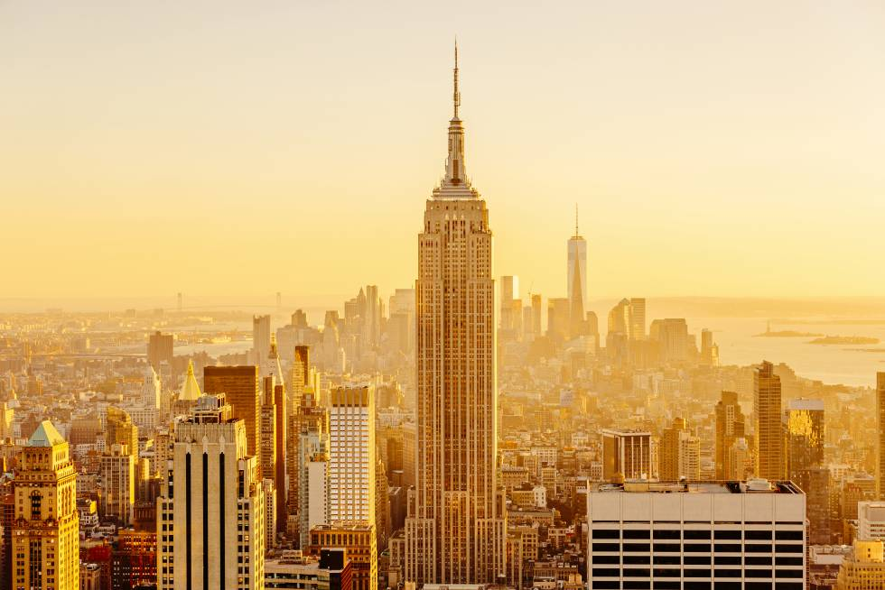 Manhattan, con el Empire State Building en el centro.