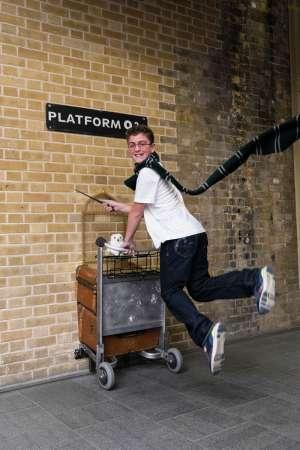 El carrito portamaletas de Harry Potter en la estación de King's Cross, en Londres.