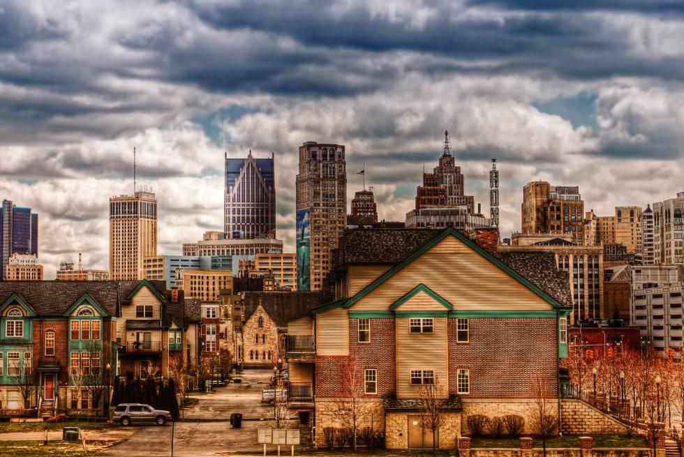 Vista del 'downtown' de Detroit desde Brush Park, uno de las zonas que han renacido en la ciudad norteamericana.