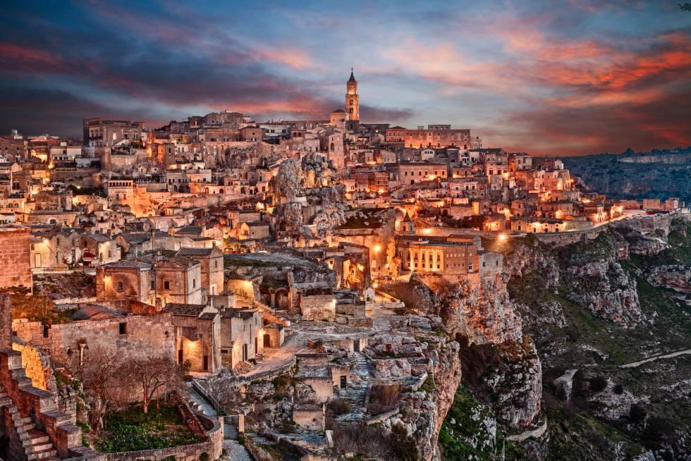 Vista de la ciudad italiana de Matera, al sur de Italia.