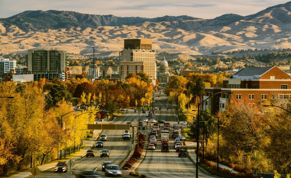 Vista del bulevar del Capitolio, al fondo, en el centro de Boise (Idaho).