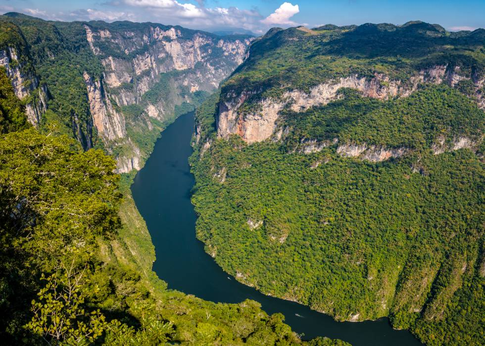 Vista aérea del cañón del Sumidero, en Chiapas (México):