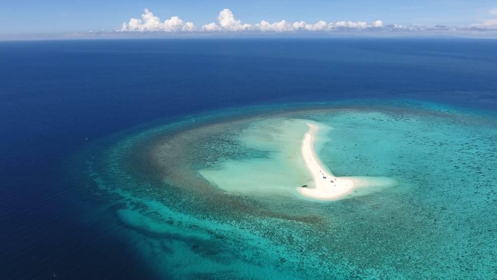 Vista aérea de White Island, en Filipinas.