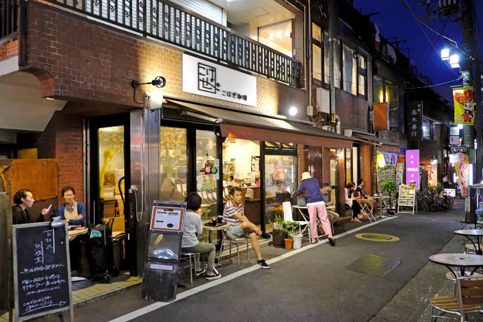 Una de las calles con restaurantes en Shimokitazawa.