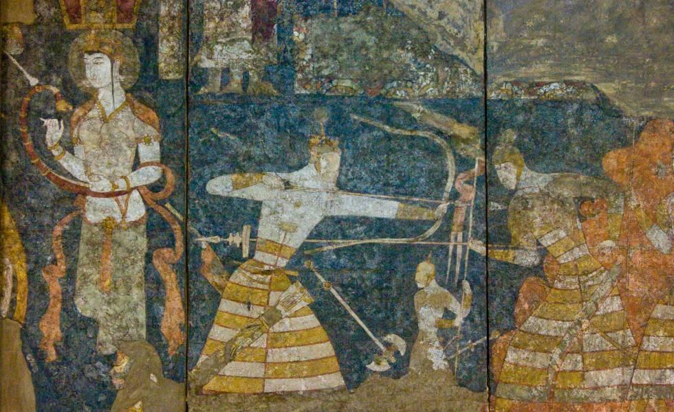 Fresco de la antigua ciudad de Penjikent, en Tayikistán, expuesto en el museo nacional de las Antigüedades, en Dusambé, la capital.