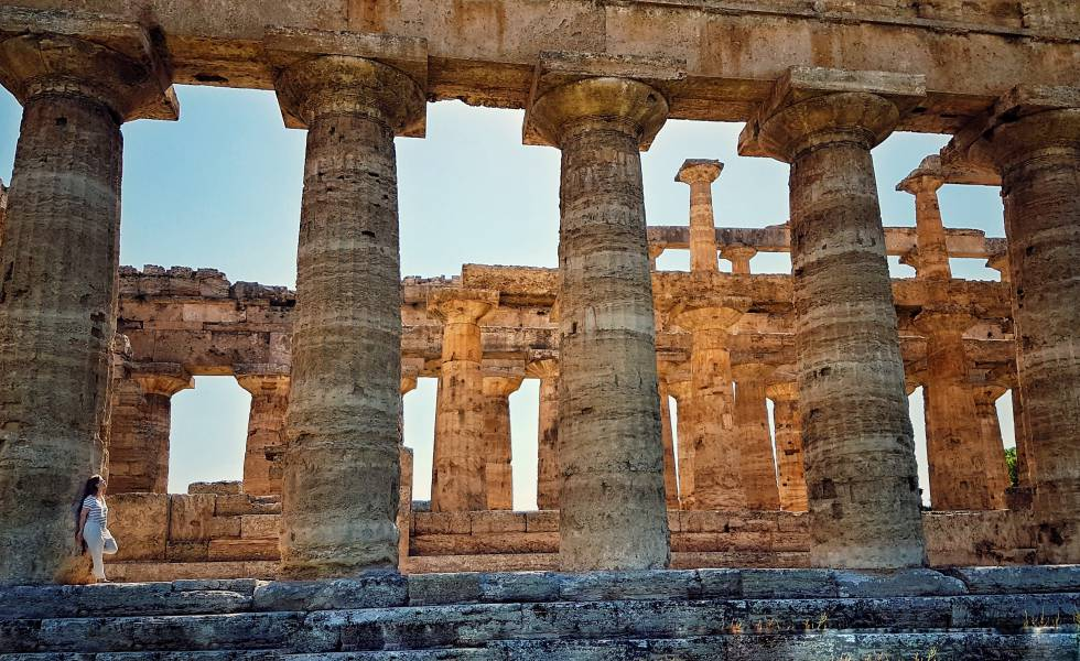 Templo de Hera, no sítio arqueológico de Paestum (Itália).