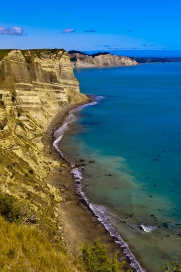 Vista del cabo Kidnappers, cerca de Napier, en la región de Hawke's Bay (Nueva Zelanda).
