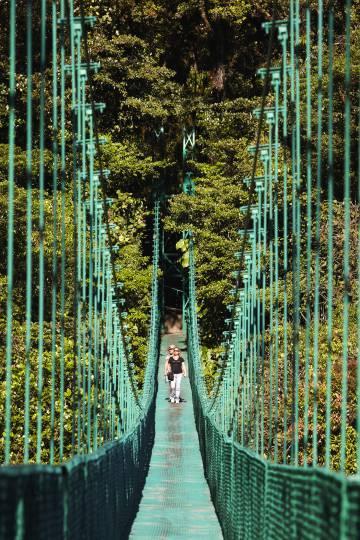 Puente colgante en la reserva del bosque nuboso de Monteverde (Colombia).