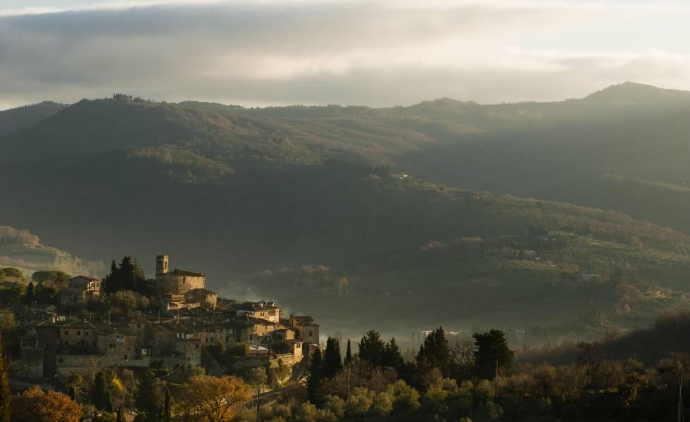 Panorámica del pueblo de Montefioralle.