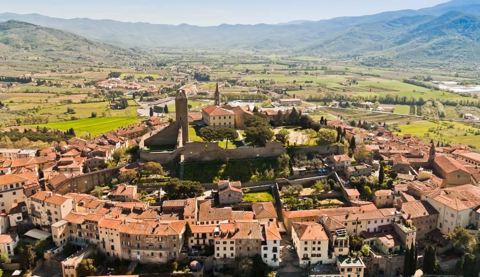 Panorámica de Castiglion Fiorentino, en la carretera de Arezzo a Cortona.