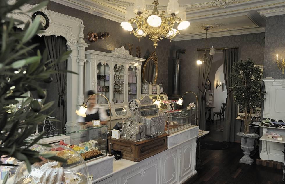 Mostrador de dulces y chocolates de Schober, en Zúrich (Suiza).