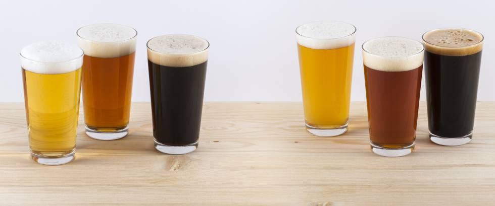 A la izquierda, tres cervezas tipo 'lager', y a la derecha, tres cervezas tipo 'ale'.