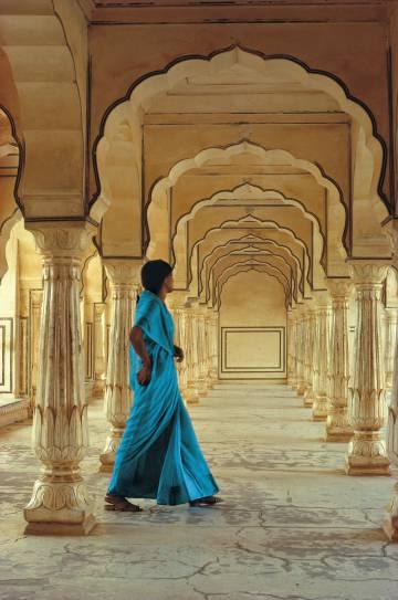 Columnas de mármol del fuerte Amber, en la ciudad india de Jaipur.