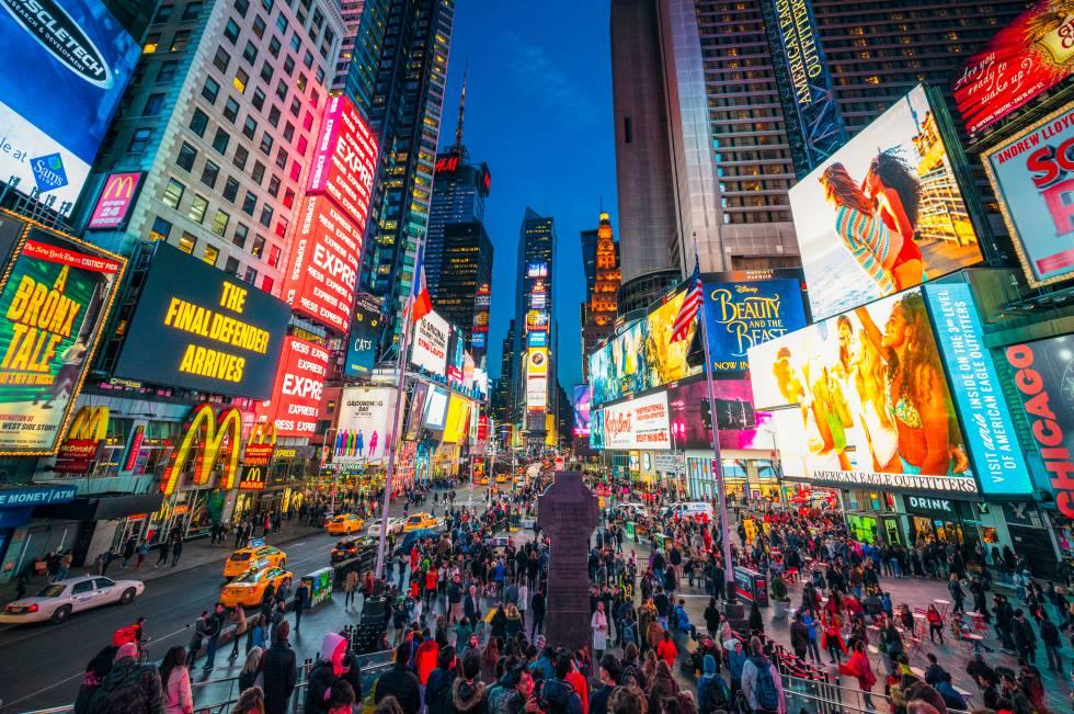 Times Square, epicentro de la fiesta de Nochevieja en Nueva York.