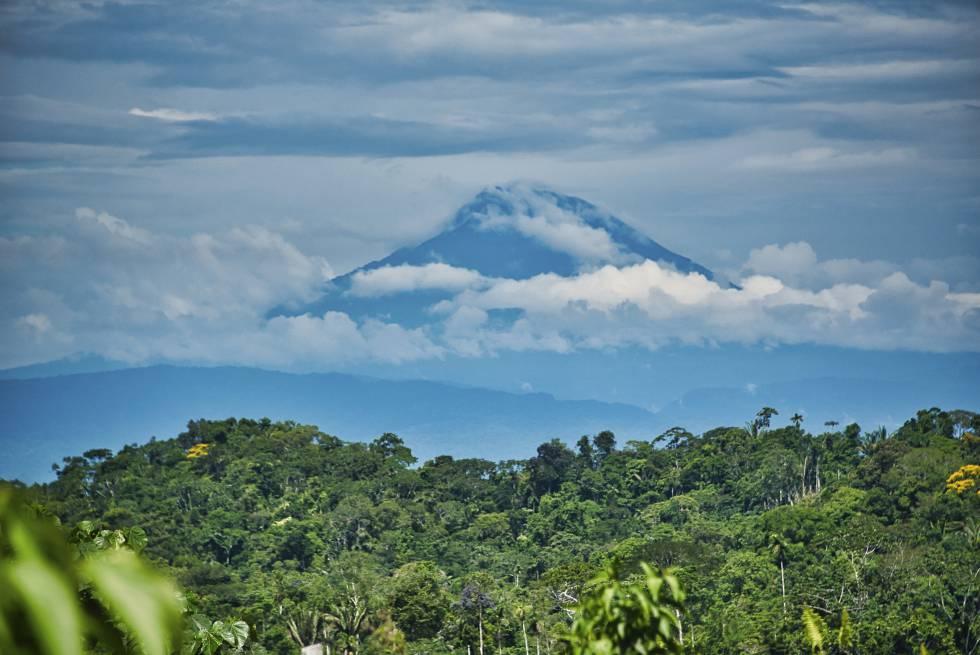 Pico del volcán Sumaco entre nubes y rodeado de bosque tropical.