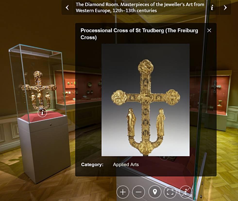 La Sala del Diamante aparece perfectamente recreada en esta visita virtual al Hermitage ruso.