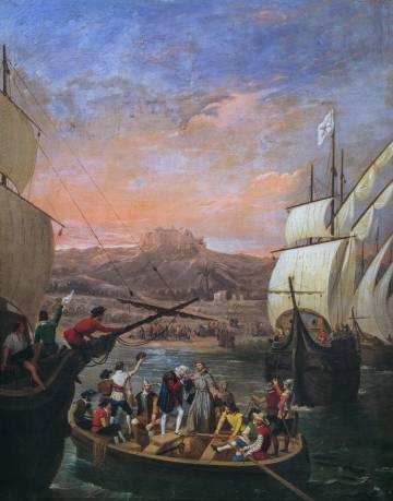 'La Salida de La Rábida', de Antonio Cabral Bejarano (1788-1861), representa la partida de Cristóbal Colón hacia el Nuevo Mundo en 1492 desde Palos de la Frontera (Huelva).
