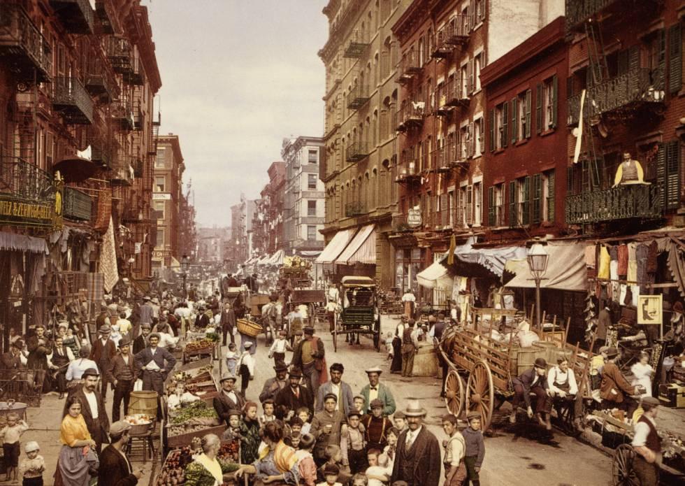 Fotolitografía de 1900 de Mulberry Street, Lower East Side de la ciudad de Nueva York.
