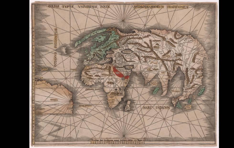 Planisferio de Waldseemüller, impreso en 1507, el más antiguo que se conserva con la mención de América.