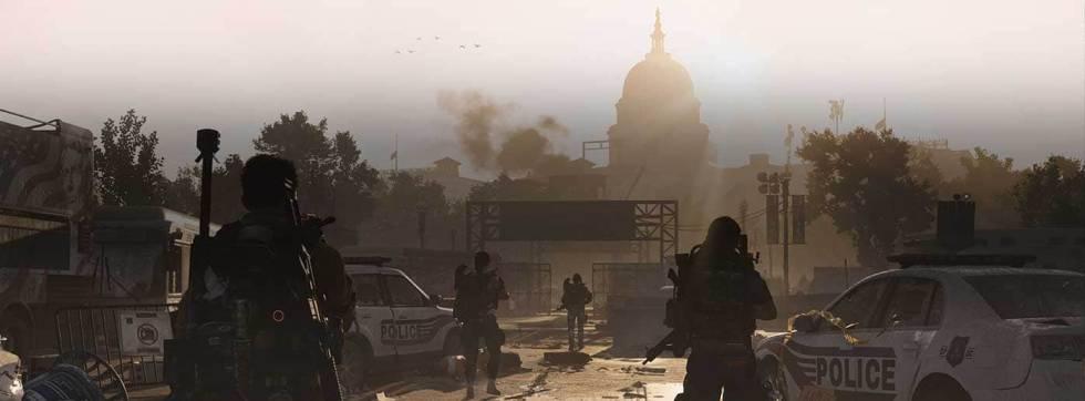 Un momento de la campaña de 'The Division 2', con el Capitolio al fondo.