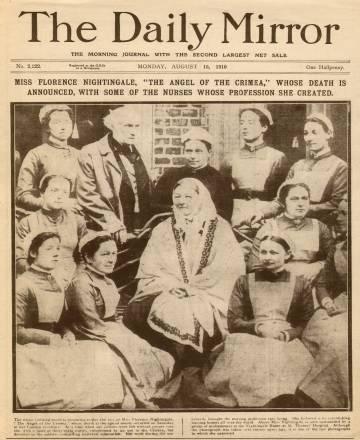 Primera página del periódico 'The Daily Mirror' anunciando su muerte el 15 de agosto de 1910.