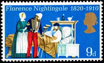 Sello británico de 1970 en honor de Florence Nightingale.